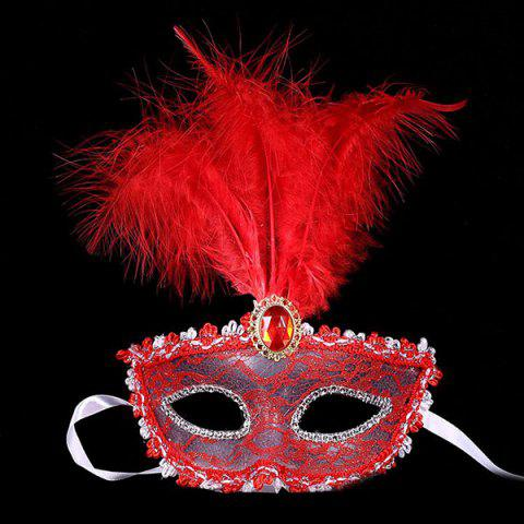 Cheap Fake Crystal Embellished Feather Lace Party Mask - RED  Mobile