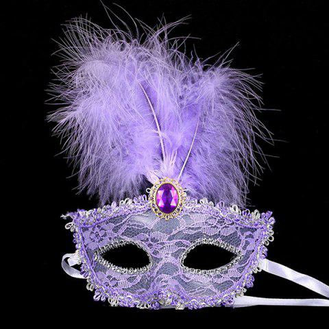 Fake Crystal Embellished Feather Lace Party Mask