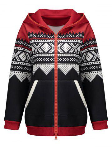 Outfits Plus Size Christmas Zipper Hooded Jacket - XL BLACK Mobile