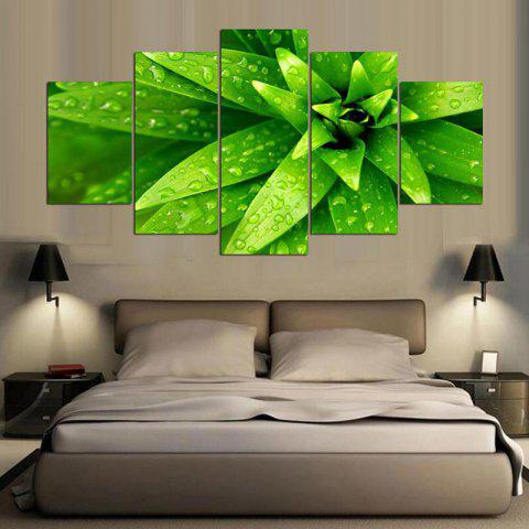 Chic Leaf Dewdrop Printed Unframed Canvas Paintings