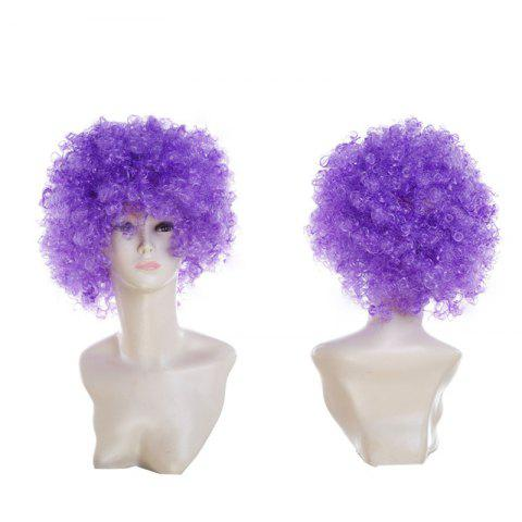 Online Short Fluffy Afro Curly Clown Fans Carnival Party Wig - LIGHT PURPLE  Mobile