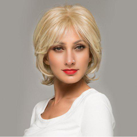 Cheap Short Side Bang Fluffy Natural Straight Lace Front Human Hair Wig - GOLDEN BROWN WITH BLONDE  Mobile