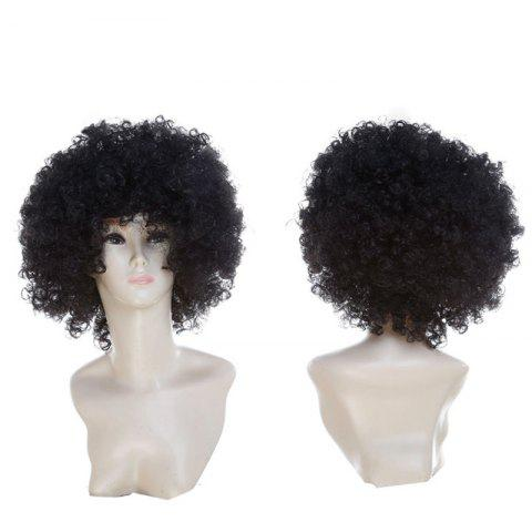 Short Fluffy Afro Curly Clown Fans Carnival Party Wig Noir