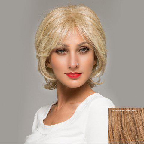 Short Side Bang Fluffy Natural Straight Lace Front Hair Hair Wig 27/30# Blonde avec Puce