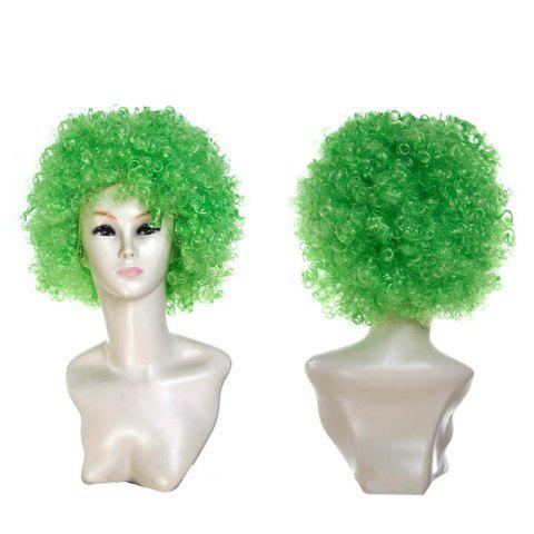 Discount Short Fluffy Afro Curly Clown Fans Carnival Party Wig - GREEN  Mobile