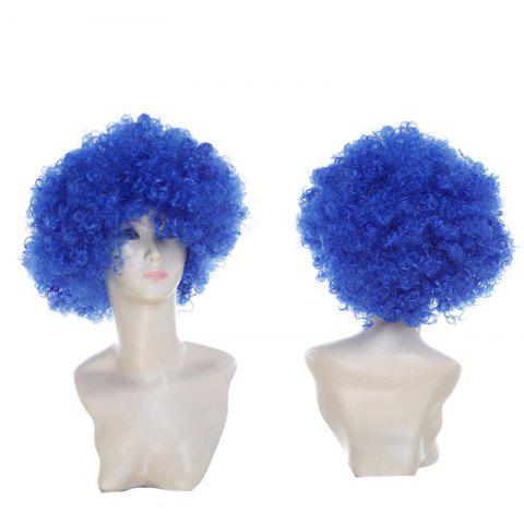 Affordable Short Fluffy Afro Curly Clown Fans Carnival Party Wig - ROYAL  Mobile