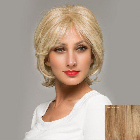 Unique Short Side Bang Fluffy Natural Straight Lace Front Human Hair Wig BLONDE