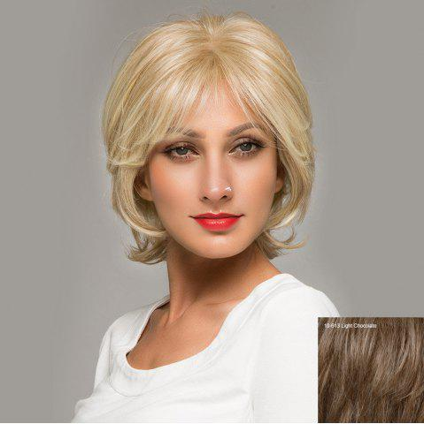 Best Short Side Bang Fluffy Natural Straight Lace Front Human Hair Wig - LIGHT CHOCOLATE  Mobile