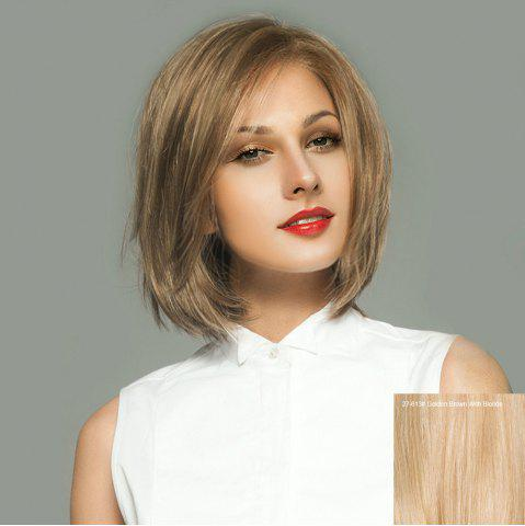 Shop Side Parting Short Straight Bob Lace Front Human Hair Wig GOLDEN BROWN WITH BLONDE
