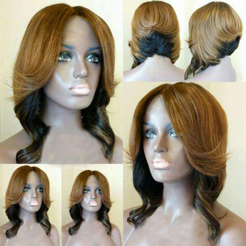 Chic Short Middle Part Layered Wavy Feathered Bob Synthetic Wig