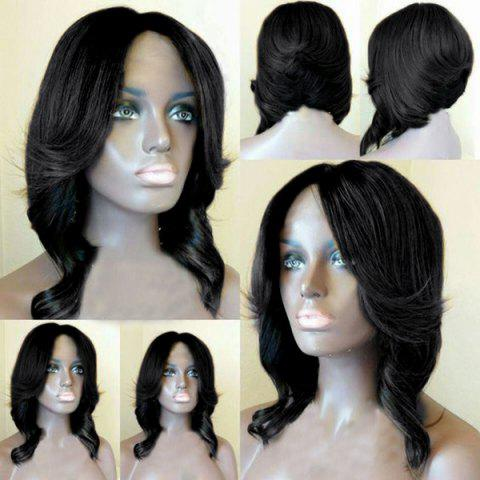 Affordable Short Middle Part Layered Wavy Feathered Bob Synthetic Wig - BLACK  Mobile