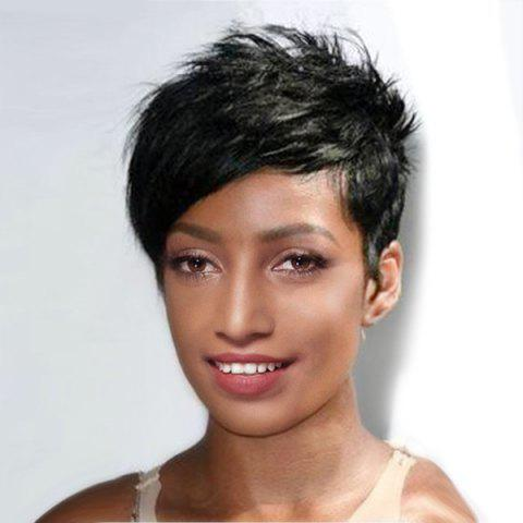 Online Ultra Short Inclined Bang Layered Straight Pixie Synthetic Wig JET BLACK 01#