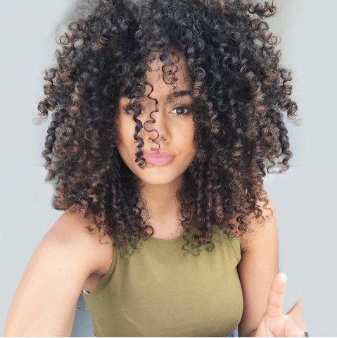 Fashion Medium Side Bang Fluffy Colormix Afro Curly Synthetic Wig