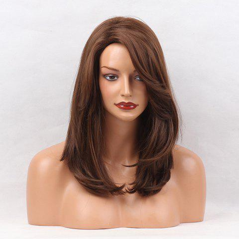 Side Parting Medium Layered Natural Straight Synthetic Wig