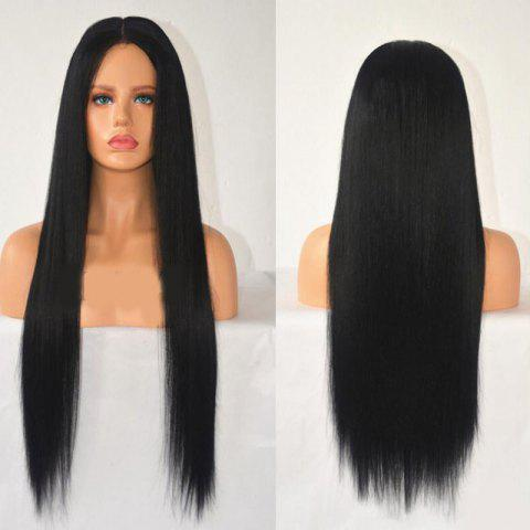 Latest Center Parting Long Straight Synthetic Wig BLACK