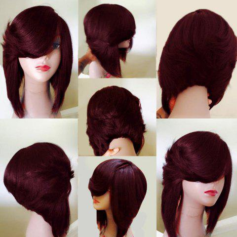 Shop Medium Side Flip Part Straight Layered Inverted Bob Synthetic Wig - WINE RED  Mobile