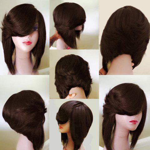 Fashion Medium Side Flip Part Straight Layered Inverted Bob Synthetic Wig