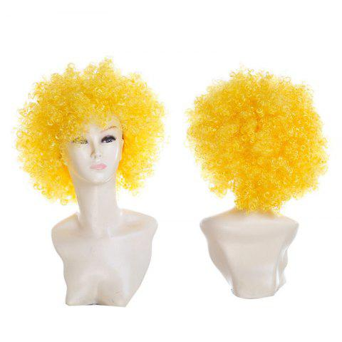 Shop Short Fluffy Afro Curly Clown Fans Carnival Party Wig - YELLOW  Mobile