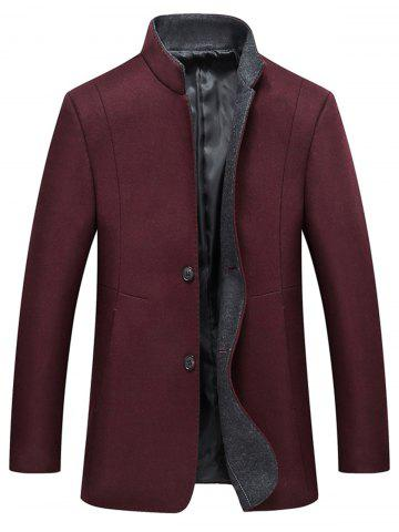 Cheap Grandad Collar Coat with Side Pockets