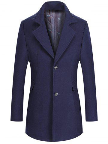 Single Breasted Lapel Collar Wool Mix Coat