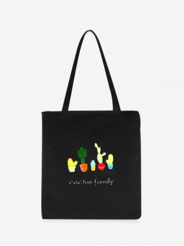 Affordable Canvas Print Cactus Shoulder Bag BLACK
