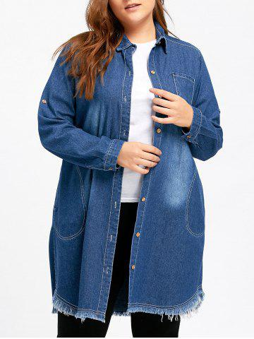 Outfits Plus Size Frayed Long Denim Coat - 2XL BLUE Mobile