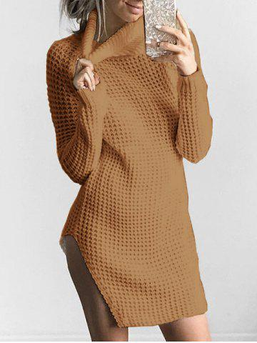 Trendy Slit Turtleneck Chunky Knit Sweater KHAKI S