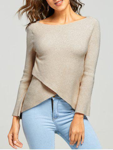 Ribbed Overlap Boat Neck Knitwear
