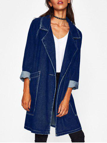 Trendy Pockets Raglan Sleeve Denim Long Jacket