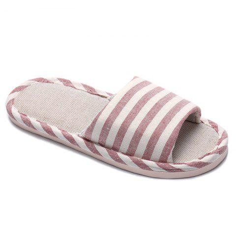 Chic Striped Color Block Indoor Slippers PINK SIZE(37-38)