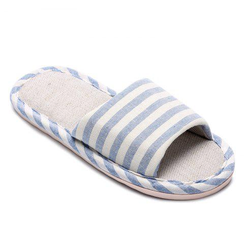 Cheap Striped Color Block Indoor Slippers