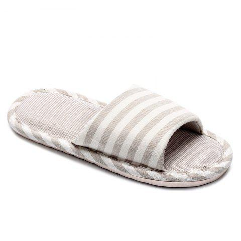 Discount Striped Color Block Indoor Slippers - SIZE(41-42) BEIGE Mobile