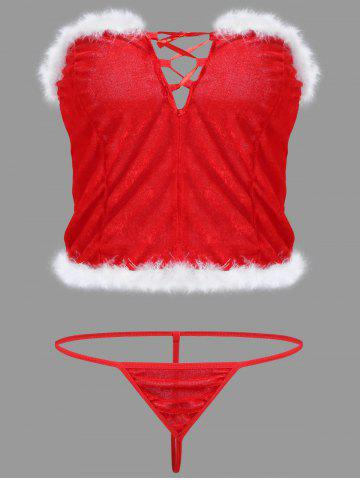Buy Velvet Feather Christmas Corset Costume - ONE SIZE RED Mobile