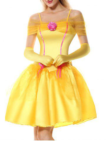 Affordable Princess Off Shoulder Holiday Costume Dress - L YELLOW Mobile