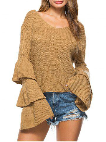Convertible Neck Knit Bell Sleeve Sweater