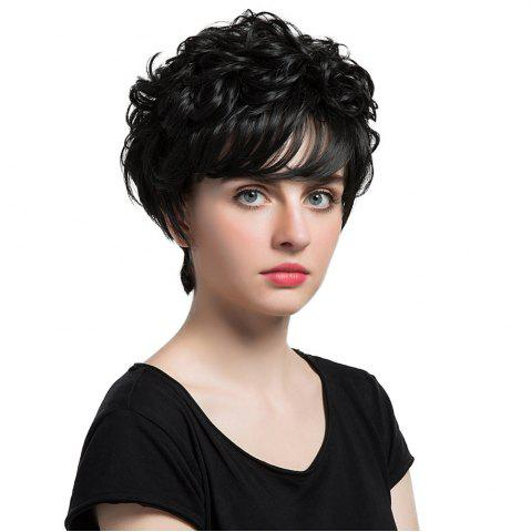 Outfits Short Inclined Bang Curly Synthetic Wig - 24CM BLACK Mobile