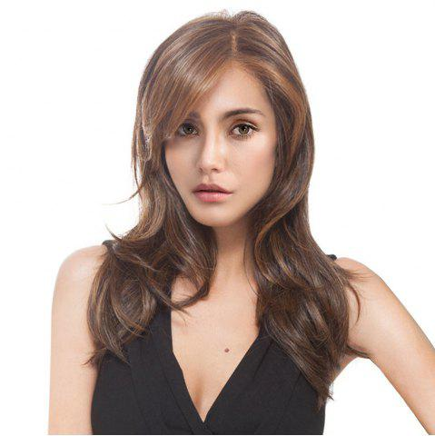 Affordable Long Side Parting Colormix Layered Slightly Curly Synthetic Wig COLORMIX