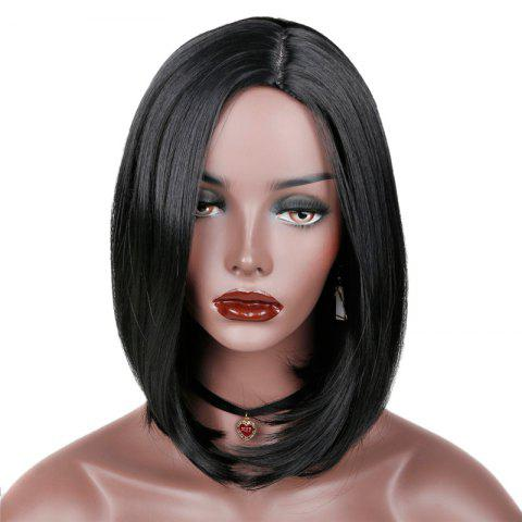 Outfit Side Parting Synthetic Medium Straight Bob Wig - BLACK  Mobile