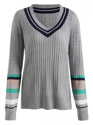 Affordable Plus Size Ribbed Striped Panel Tennis Sweater - 3XL GRAY Mobile