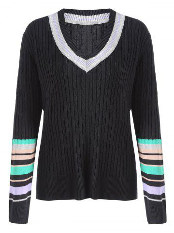 Buy Plus Size Ribbed Striped Panel Tennis Sweater - 5XL BLACK Mobile
