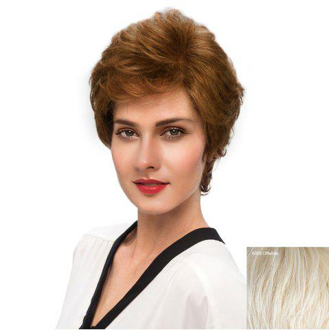 Latest Short Side Bang Fluffy Slightly Curly Human Hair Wig - WHITE  Mobile