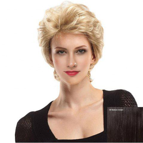 Shops Short Side Bang Fluffy Slightly Curly Lace Front Human Hair Wig MEDIUM BROWN