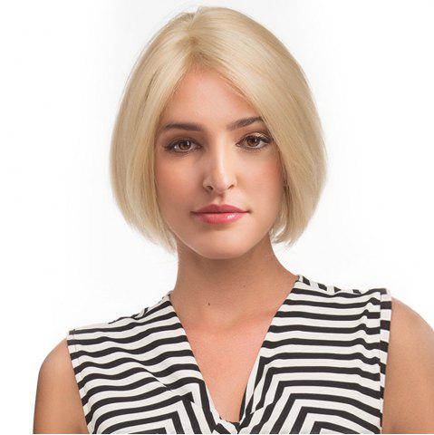 Hot Center Parting Short Straight Bob Human Hair Lace Front Wig