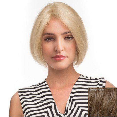 Online Center Parting Short Straight Bob Human Hair Lace Front Wig - LIGHT CHOCOLATE  Mobile