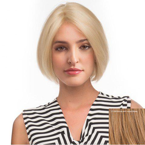 Unique Center Parting Short Straight Bob Human Hair Lace Front Wig BLONDE WITH AUBURN BROWN