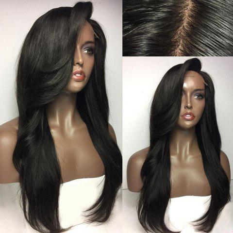 New Deep Side Parting Long Natural Straight Lace Front Real Human Hair Wig NATURAL BLACK