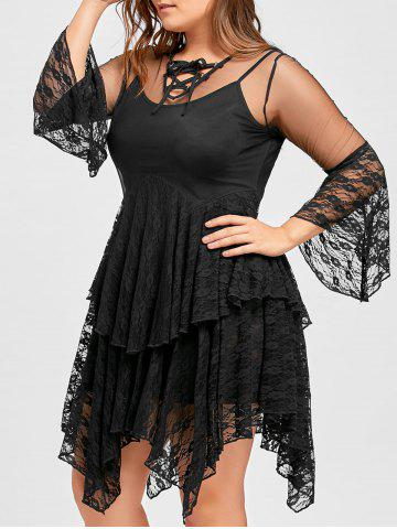 Store Plus Size  Ruffles Tiered Sheer Lace Gothic Dress - 5XL BLACK Mobile