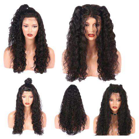 Latest Long Free Part Fluffy Water Wave Lace Front Real Human Hair Wig NATURAL BLACK