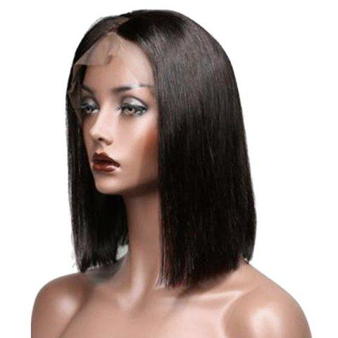 Discount Short Center Parting Straight Bob Real Human Hair Lace Front Wig - NATURAL BLACK  Mobile