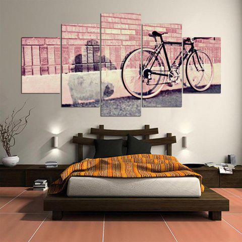 Fashion Bicycle Bricks Wall Printed Canvas Wall Art Paintings